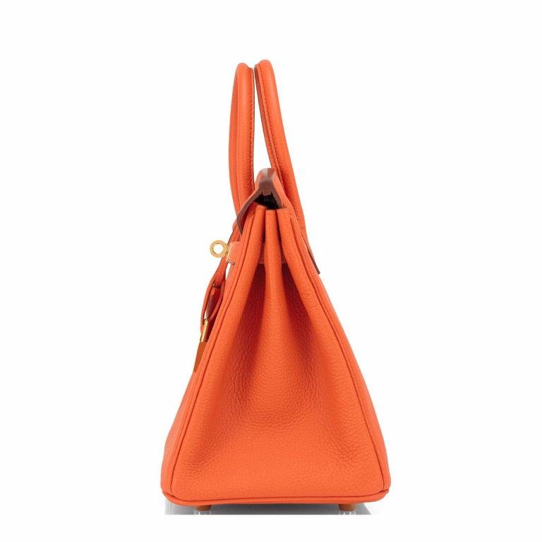 Hermes Birkin 25 Orange Feu Togo Bag Gold Jewel Y Stamp, 2020 1