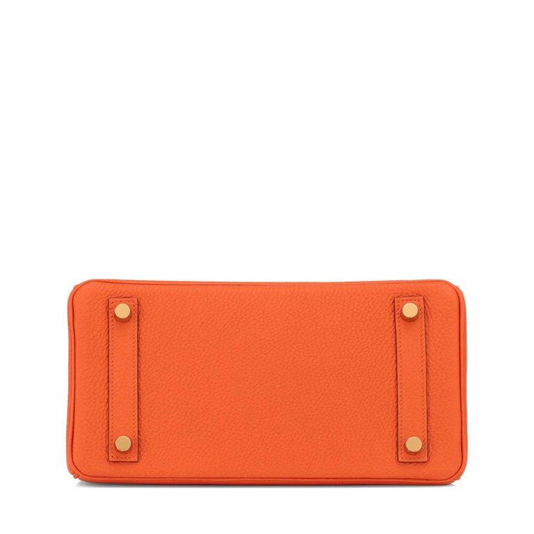 Hermes Birkin 25 Orange Feu Togo Bag Gold Jewel Y Stamp, 2020 2