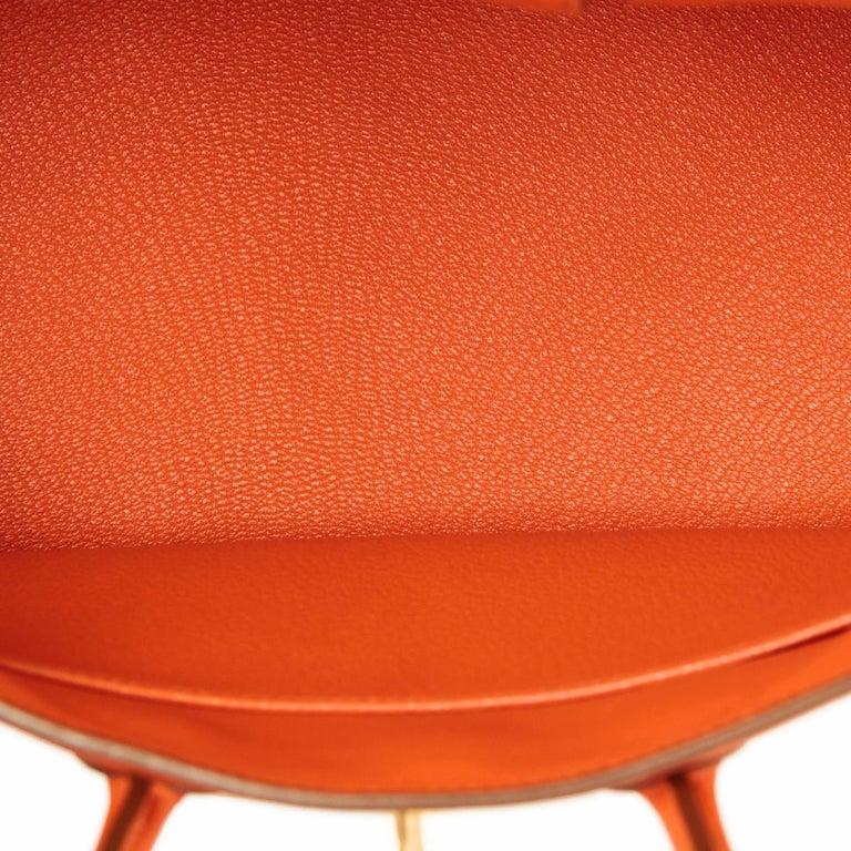 Hermes Birkin 25 Orange Feu Togo Bag Gold Jewel Y Stamp, 2020 3