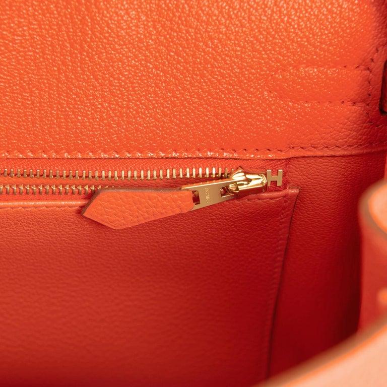 Hermes Birkin 25 Orange Feu Togo Bag Gold Jewel Y Stamp, 2020 4