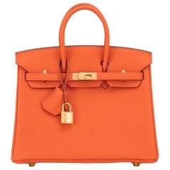 Hermes Birkin 25 Orange Feu Togo Bag Gold Jewel Y Stamp, 2020
