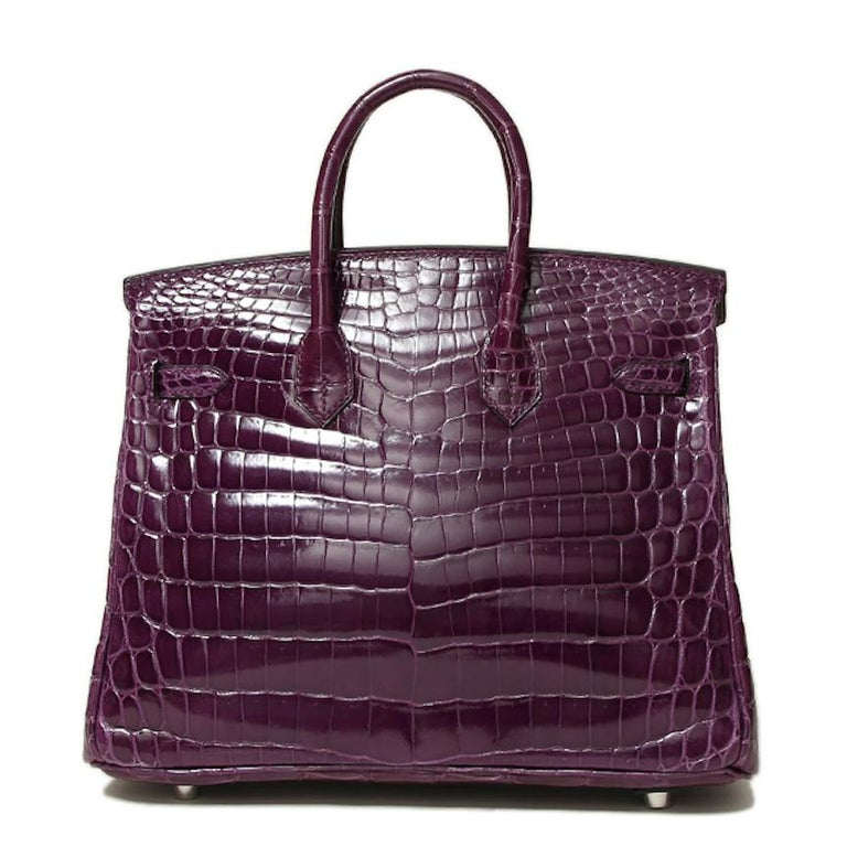 Women's Hermes Birkin 25 Purple Crocodile Exotic Leather Top Handle Satchel Tote Bag