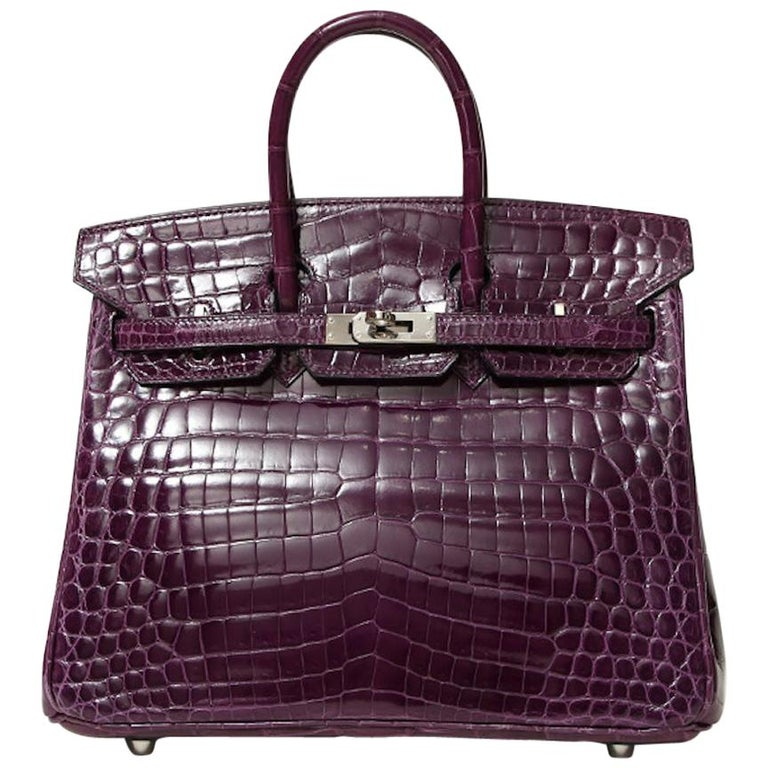 Hermes Birkin 25 Purple Crocodile Exotic Leather Top Handle Satchel Tote Bag