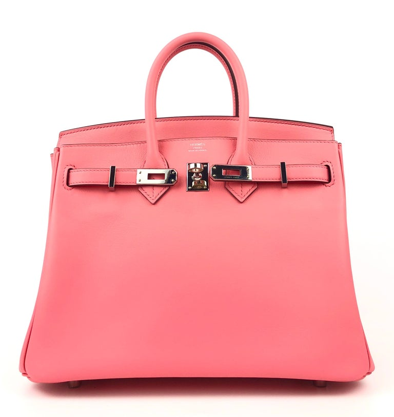 2020 Y Stamp Hermes Birkin 20 Rose D'ete Pink Swift leather Palladium Hardware. As New with plastic on all hardware and feet.   Shop with Confidence from Lux Addicts. Authenticity Guaranteed!