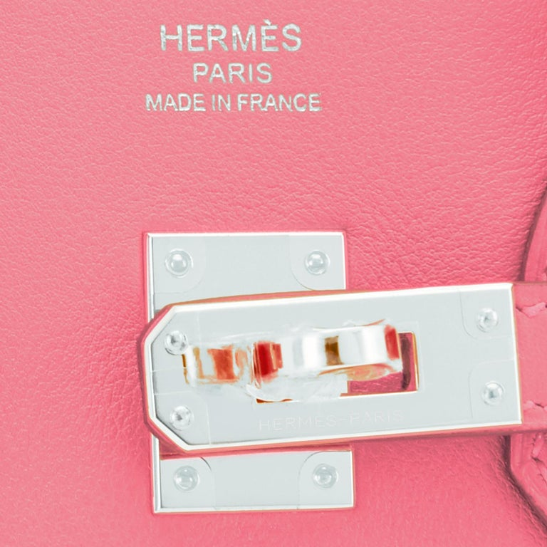 Hermes Birkin 25 Rose Eté Swift Palladium Hardware Baby D'Eté Y Stamp, 2020 For Sale 5