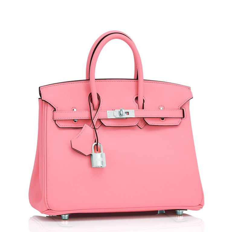 Guaranteed Authentic Hermes Birkin 25 Rose Eté Swift Palladium Hardware Y Stamp, 2020 Brand New in Box. Store Fresh. Pristine Condition (with plastic on hardware)  Perfect gift! Comes in full set with clochette, lock, keys, raincoat, dust bag, and