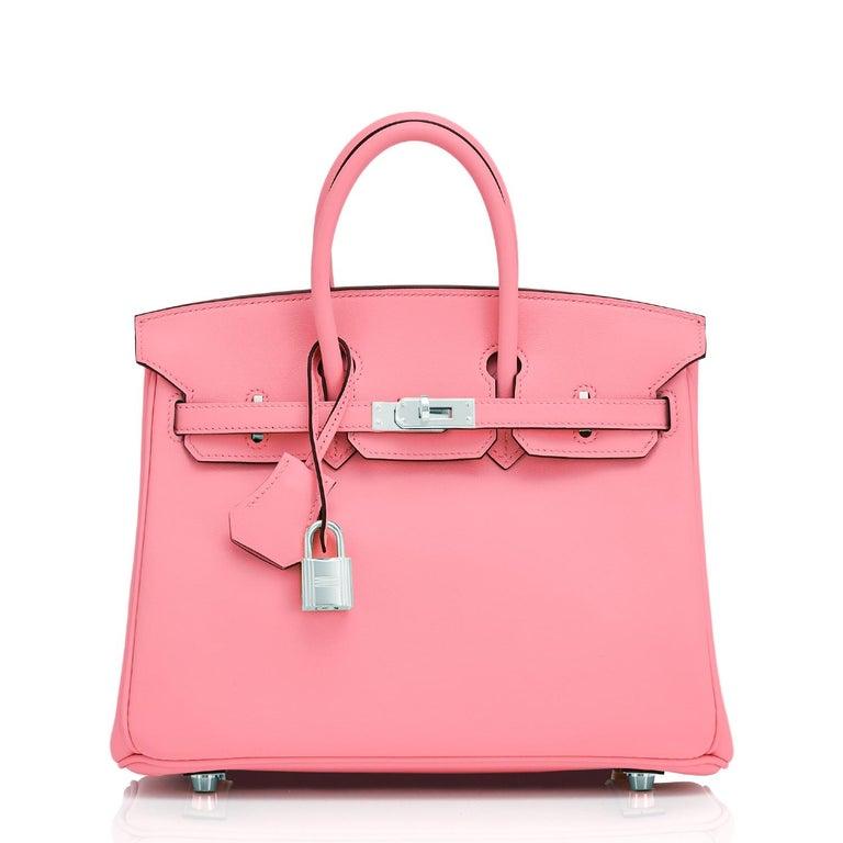 Pink Hermes Birkin 25 Rose Eté Swift Palladium Hardware Baby D'Eté Y Stamp, 2020 For Sale
