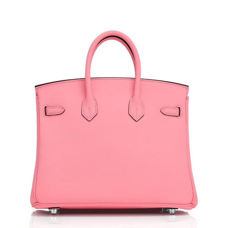 Women's Hermes Birkin 25 Rose Eté Swift Palladium Hardware Baby D'Eté Y Stamp, 2020 For Sale