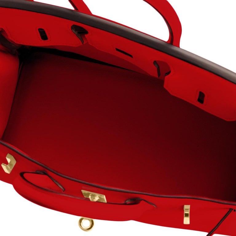 Hermes Birkin 25 Rouge de Coeur Lipstick Red Bag Gold Jewel Y Stamp, 2020 For Sale 6