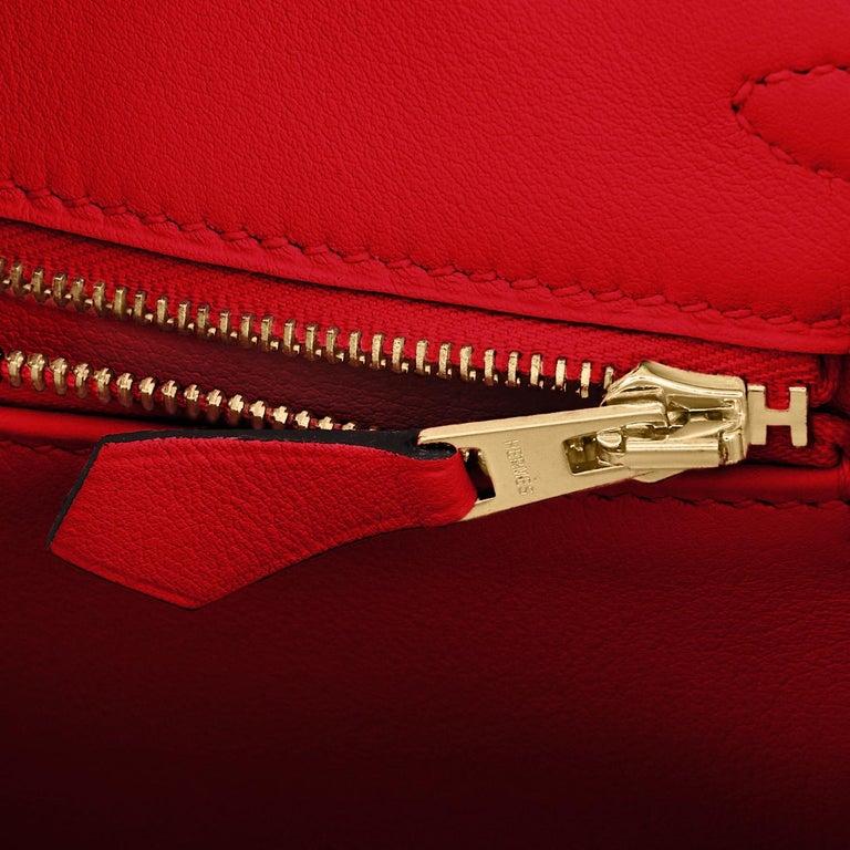 Hermes Birkin 25 Rouge de Coeur Lipstick Red Bag Gold Jewel Y Stamp, 2020 For Sale 7
