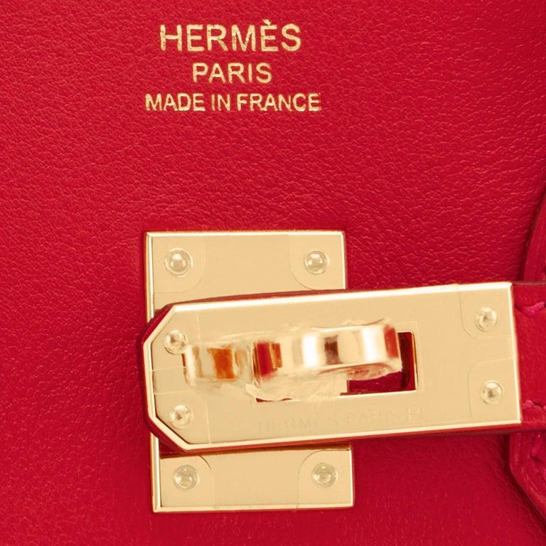 Hermes Birkin 25 Rouge de Coeur Lipstick Red Bag Gold Jewel Y Stamp, 2020 For Sale 8