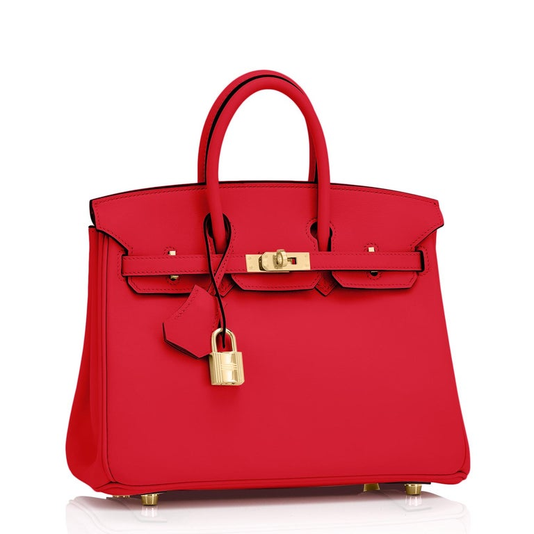 Hermes Birkin 25 Rouge de Coeur Lipstick Red Bag Gold Jewel Y Stamp, 2020 Just purchased from Hermes store; bag bears new interior 2020 Y Stamp. Brand New in Box. Store fresh. Pristine Condition (with plastic on hardware) Perfect gift! Comes with