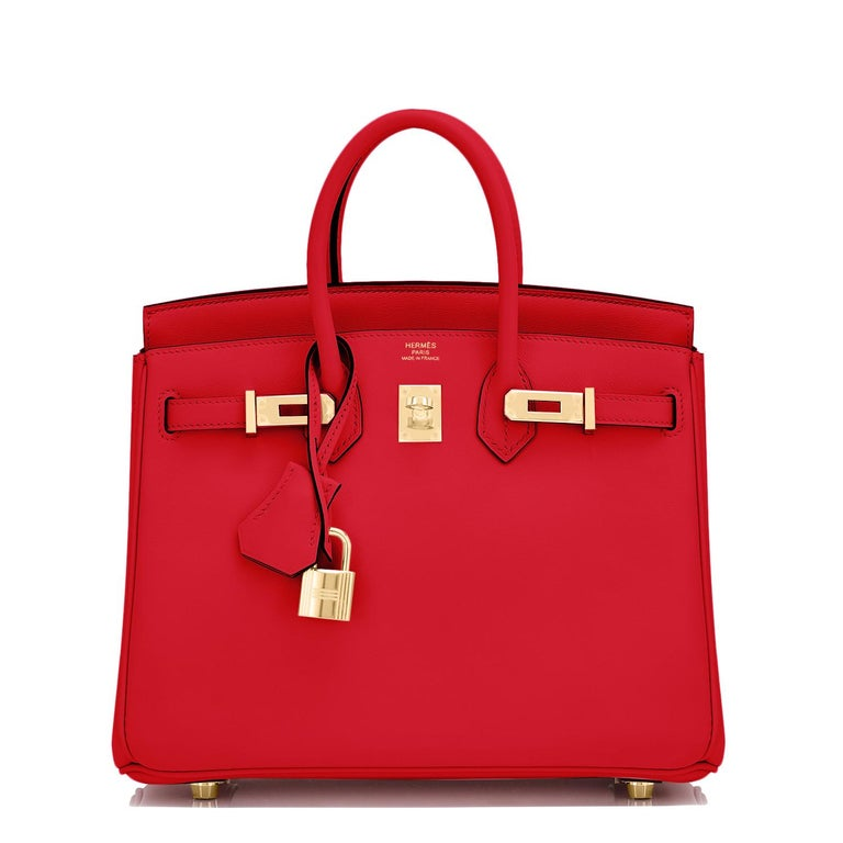 Hermes Birkin 25 Rouge de Coeur Lipstick Red Bag Gold Jewel Y Stamp, 2020 In New Condition For Sale In New York, NY