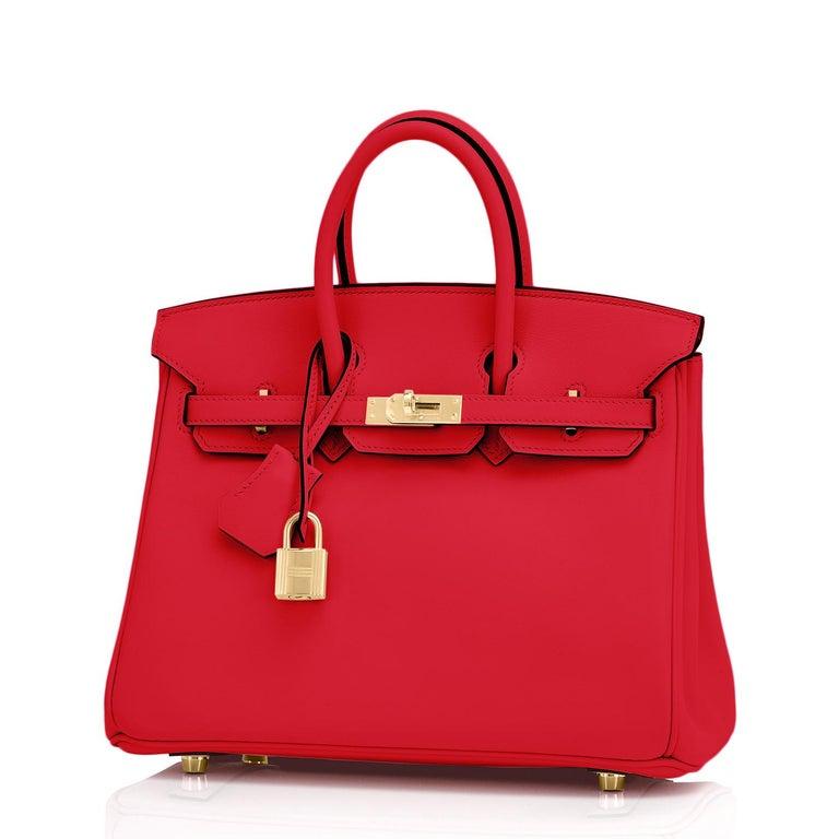 Women's Hermes Birkin 25 Rouge de Coeur Lipstick Red Bag Gold Jewel Y Stamp, 2020 For Sale