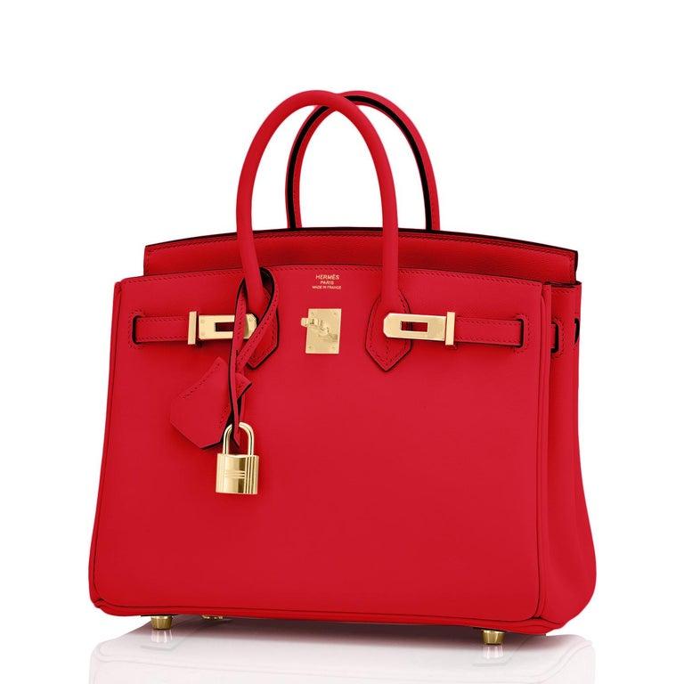 Hermes Birkin 25 Rouge de Coeur Lipstick Red Bag Gold Jewel Y Stamp, 2020 For Sale 2