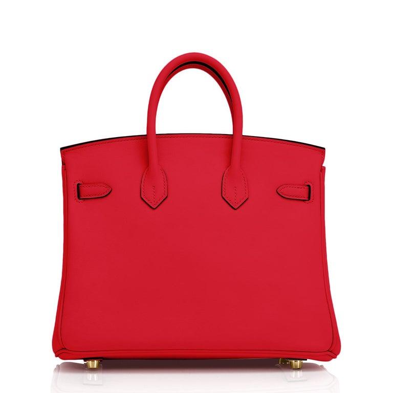 Hermes Birkin 25 Rouge de Coeur Lipstick Red Bag Gold Jewel Y Stamp, 2020 For Sale 3