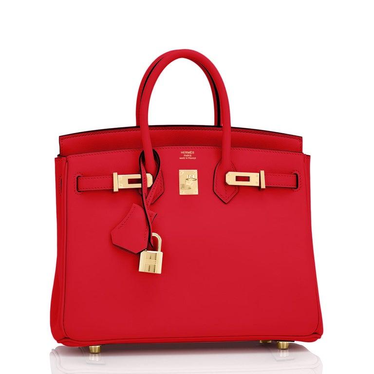 Hermes Birkin 25 Rouge de Coeur Lipstick Red Bag Gold Jewel Y Stamp, 2020 For Sale 4