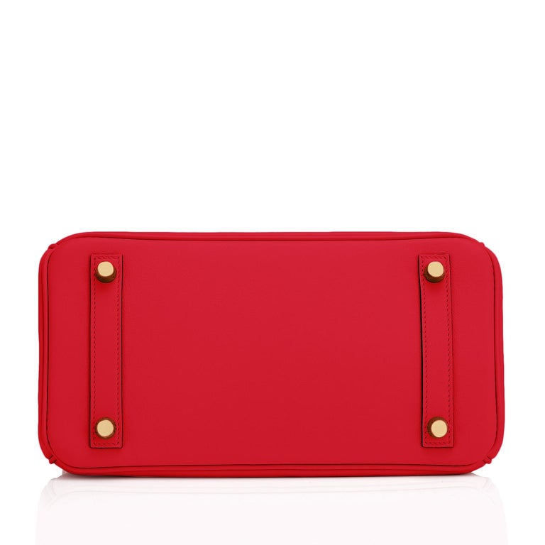 Hermes Birkin 25 Rouge de Coeur Lipstick Red Bag Gold Jewel Y Stamp, 2020 For Sale 5