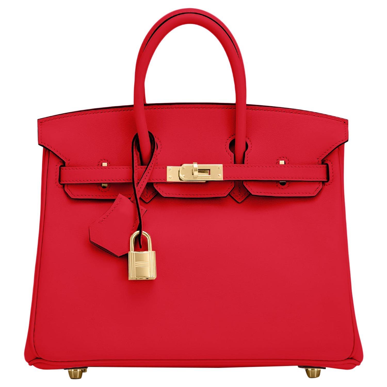 Hermes Birkin 25 Rouge de Coeur Lipstick Red Bag Gold Jewel Y Stamp, 2020