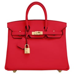 Hermes Birkin 25 Rouge de Coeur Lipstick Red Bag Gold Jewel Y Stamp, 2020