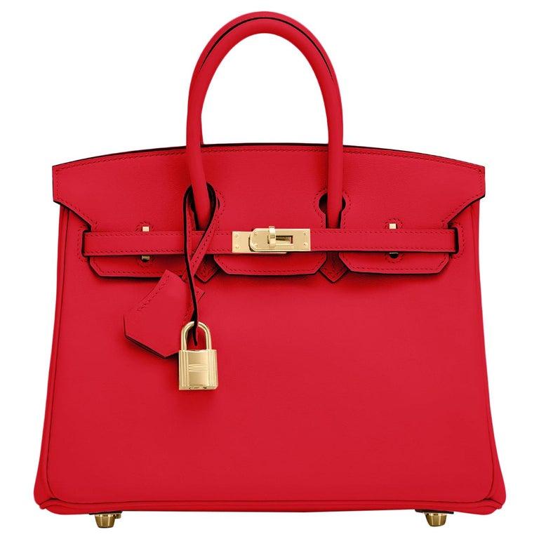 Hermes Birkin 25 Rouge de Coeur Lipstick Red Bag Gold Jewel Y Stamp, 2020 For Sale