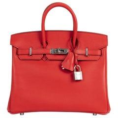 Hermes Birkin 25 Rouge De Coeur Veau Jonathan PHW