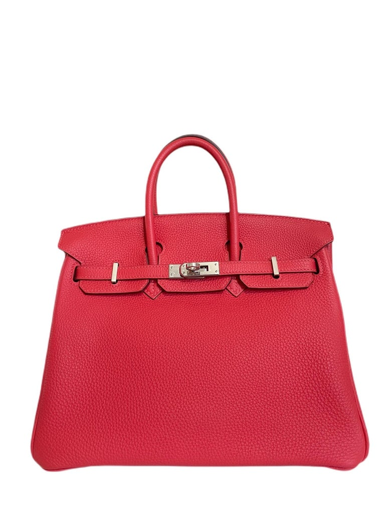 Stunning Hermes Birkin 25 Rouge Pivoine Togo Leather complimented by Palladium Hardware. Pristine condition with plastic on hardware, perfect corners and structure.  T Stamp 2015.   Shop with Confidence from Lux Addicts. Authenticity Guaranteed!
