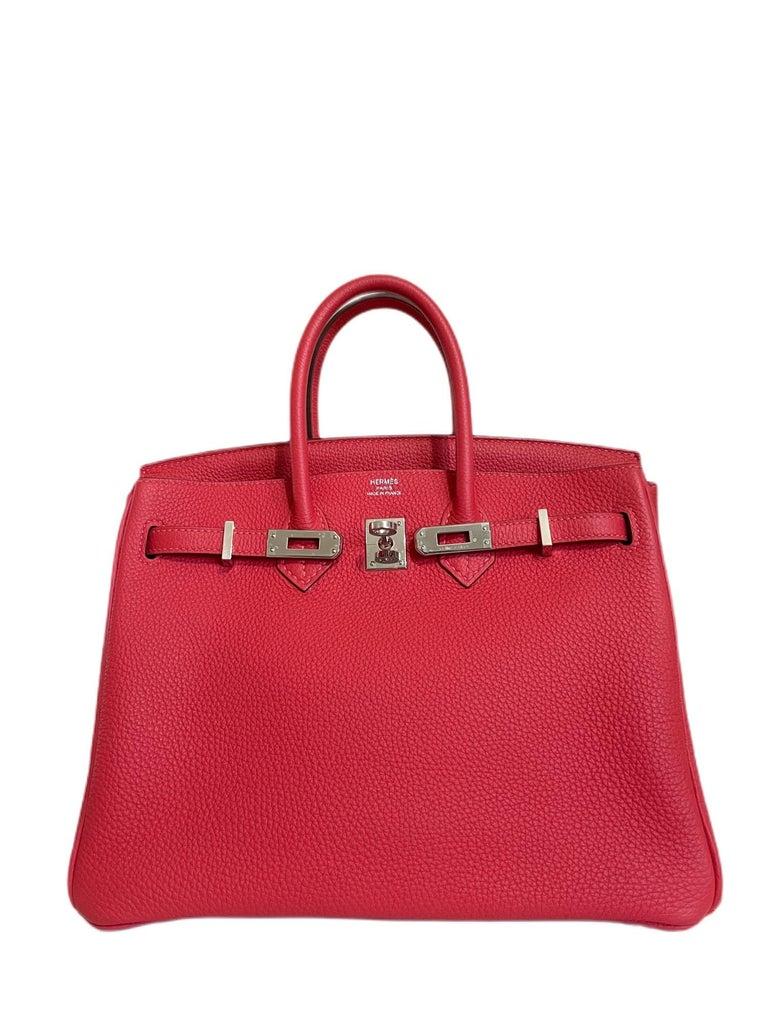 Hermes Birkin 25 Rouge Pivoine Red Togo Leather Palladium Hardware  In Excellent Condition For Sale In Miami, FL