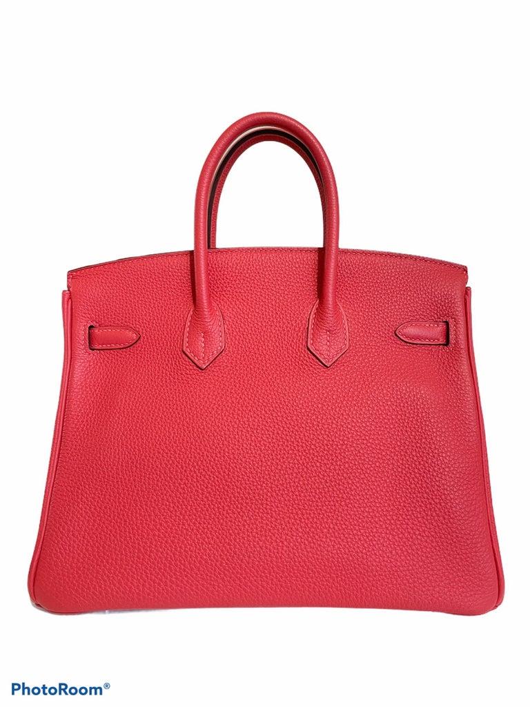 Women's or Men's Hermes Birkin 25 Rouge Pivoine Red Togo Leather Palladium Hardware  For Sale