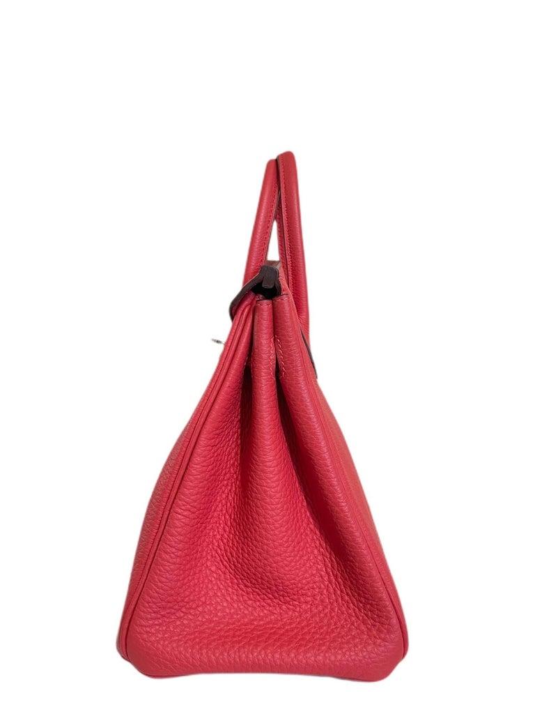 Hermes Birkin 25 Rouge Pivoine Red Togo Leather Palladium Hardware  For Sale 2