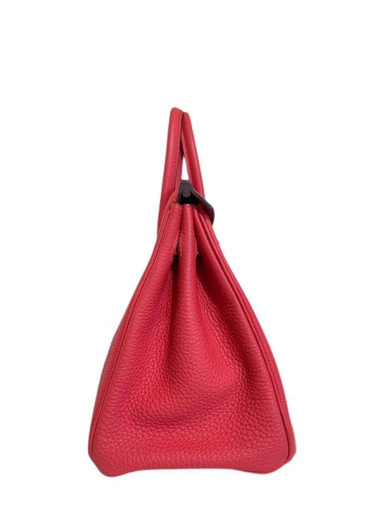 Hermes Birkin 25 Rouge Pivoine Red Togo Leather Palladium Hardware  For Sale 3