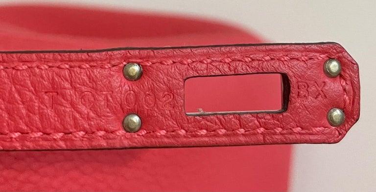 Hermes Birkin 25 Rouge Pivoine Red Togo Leather Palladium Hardware  For Sale 4