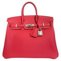Hermes Birkin 25 Rouge Pivoine Red Togo Leather Palladium Hardware