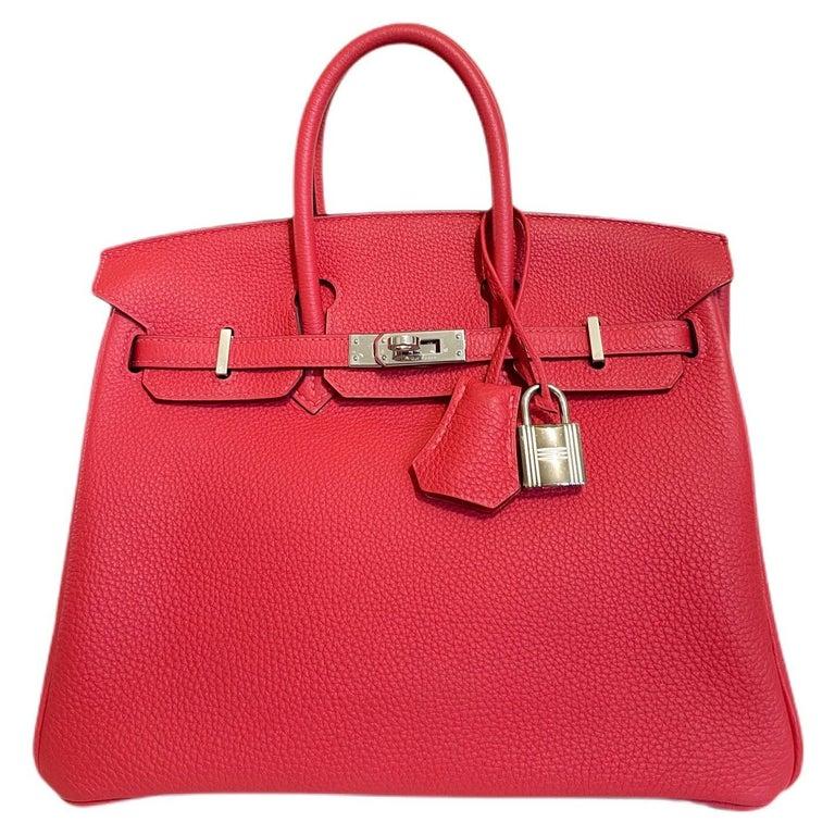 Hermes Birkin 25 Rouge Pivoine Red Togo Leather Palladium Hardware  For Sale