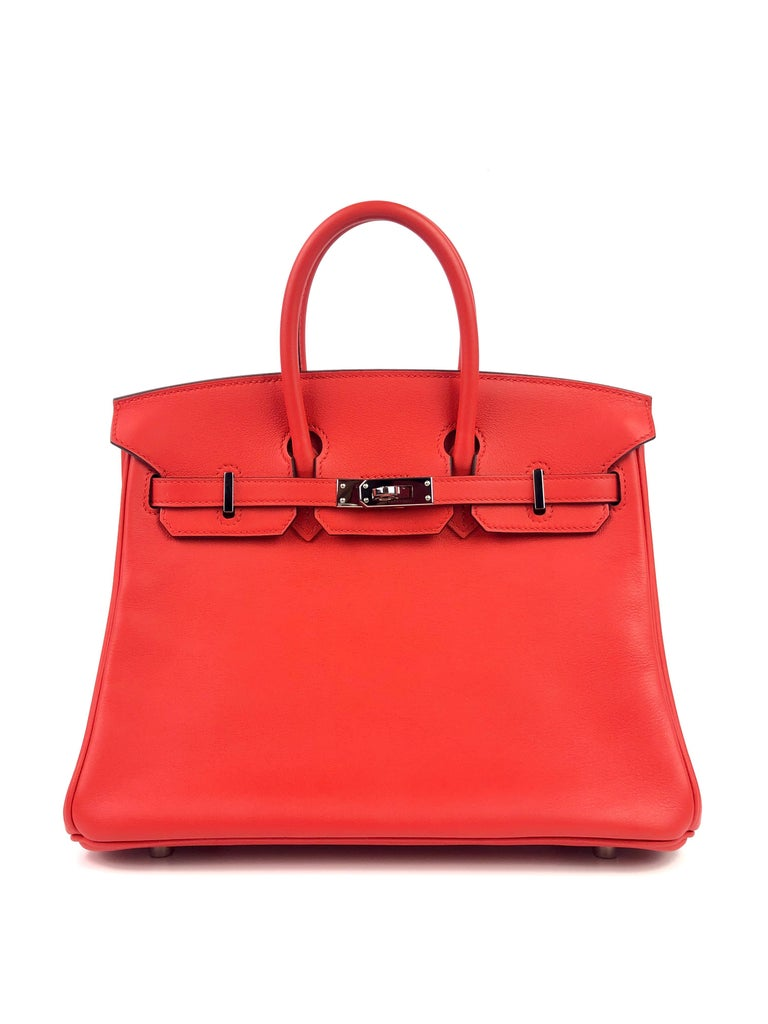 Hermes Birkin 25 Rouge Tomate Red Palladium Hardware. X Stamp 2016. Pristine Condition with little to no scratching on Hardware, perfect corners and structure.  Shop with Confidence from Lux Addicts. Authenticity Guaranteed!
