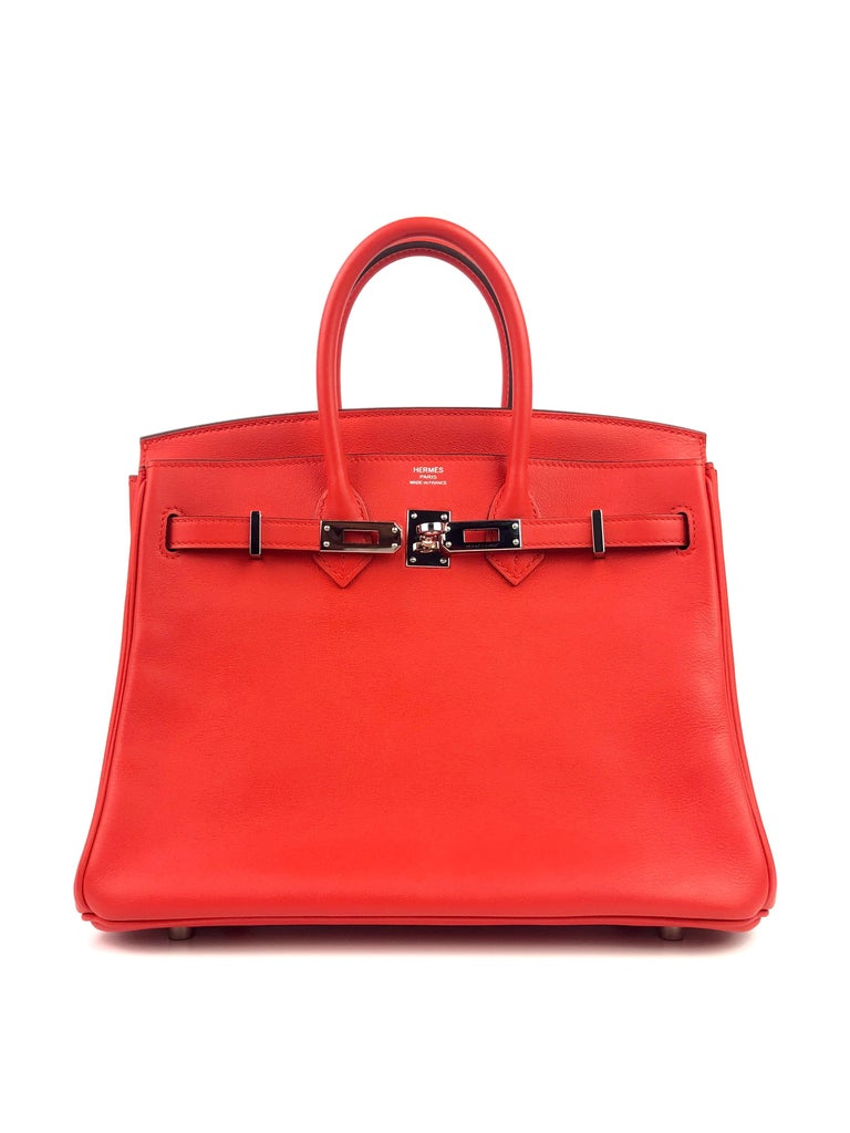 Hermes Birkin 25 Rouge Tomate Red Palladium Hardware In Excellent Condition In Miami, FL