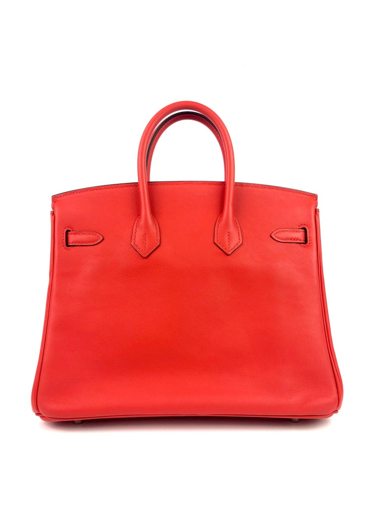 Women's or Men's Hermes Birkin 25 Rouge Tomate Red Palladium Hardware