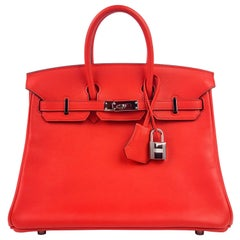 Hermes Birkin 25 Rouge Tomate Red Palladium Hardware