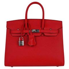 Hermes Birkin 25 Sellier Bag Rouge De Couer Epsom Palladium Hardware New