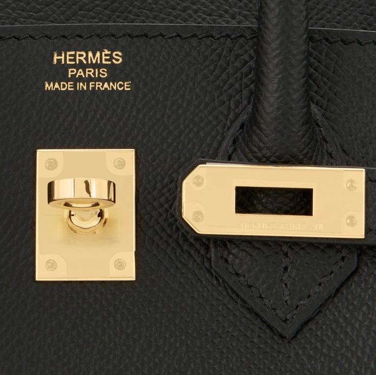 Hermes Birkin 25 Sellier Black Veau Madame Gold Hardware Y Stamp, 2020 RARE For Sale 6