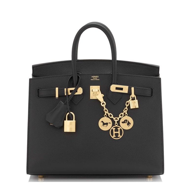 Hermes Birkin 25 Sellier Black Veau Madame Gold Hardware Y Stamp, 2020 RARE For Sale 7