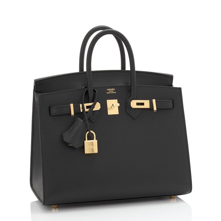 Hermes Birkin 25 Sellier Black Veau Madame Gold Hardware Y Stamp, 2020 RARE Brand New in Box. Store Fresh. Pristine Condition (with plastic on hardware)  Perfect gift! Comes in full set with clochette, lock, keys, raincoat, dust bag, and Hermes
