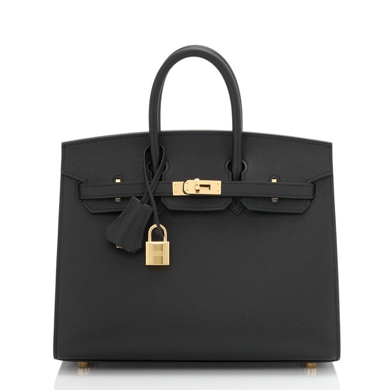 Hermes Birkin 25 Sellier Black Veau Madame Gold Hardware Y Stamp, 2020 RARE In New Condition For Sale In New York, NY