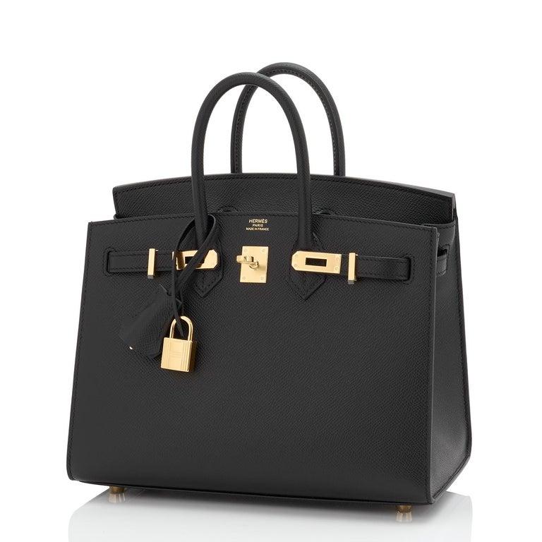 Women's Hermes Birkin 25 Sellier Black Veau Madame Gold Hardware Y Stamp, 2020 RARE For Sale