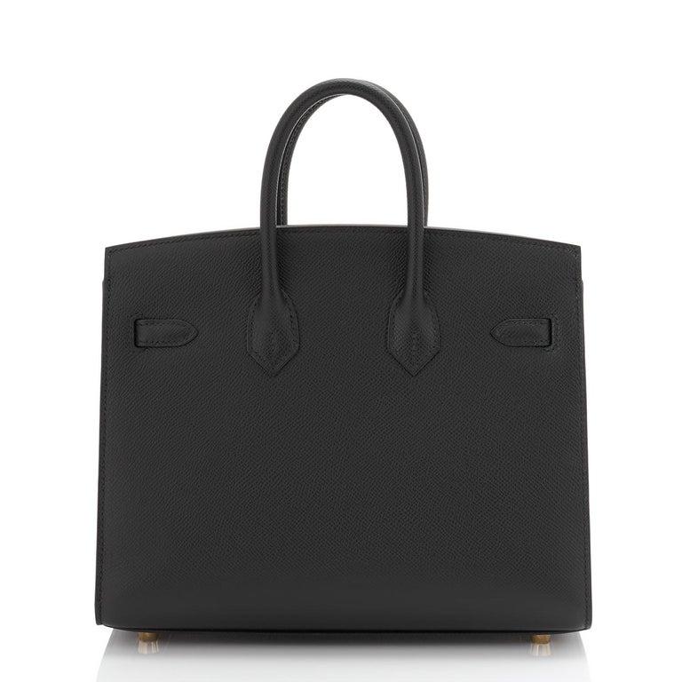 Hermes Birkin 25 Sellier Black Veau Madame Gold Hardware Y Stamp, 2020 RARE For Sale 2