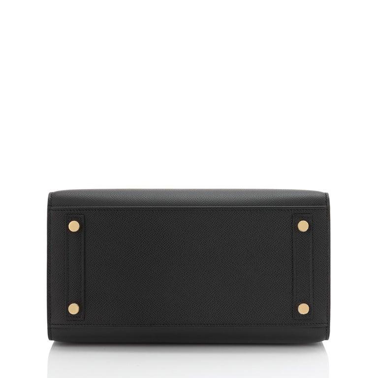 Hermes Birkin 25 Sellier Black Veau Madame Gold Hardware Y Stamp, 2020 RARE For Sale 3