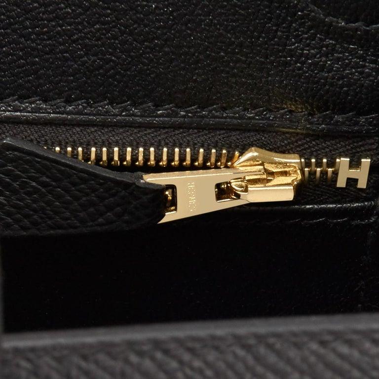 Hermes Birkin 25 Sellier Black Veau Madame Gold Hardware Y Stamp, 2020 RARE For Sale 5