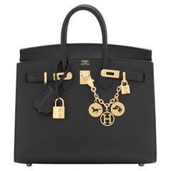 Hermes Birkin 25 Sellier Black Veau Madame Gold Hardware Y Stamp, 2020 RARE
