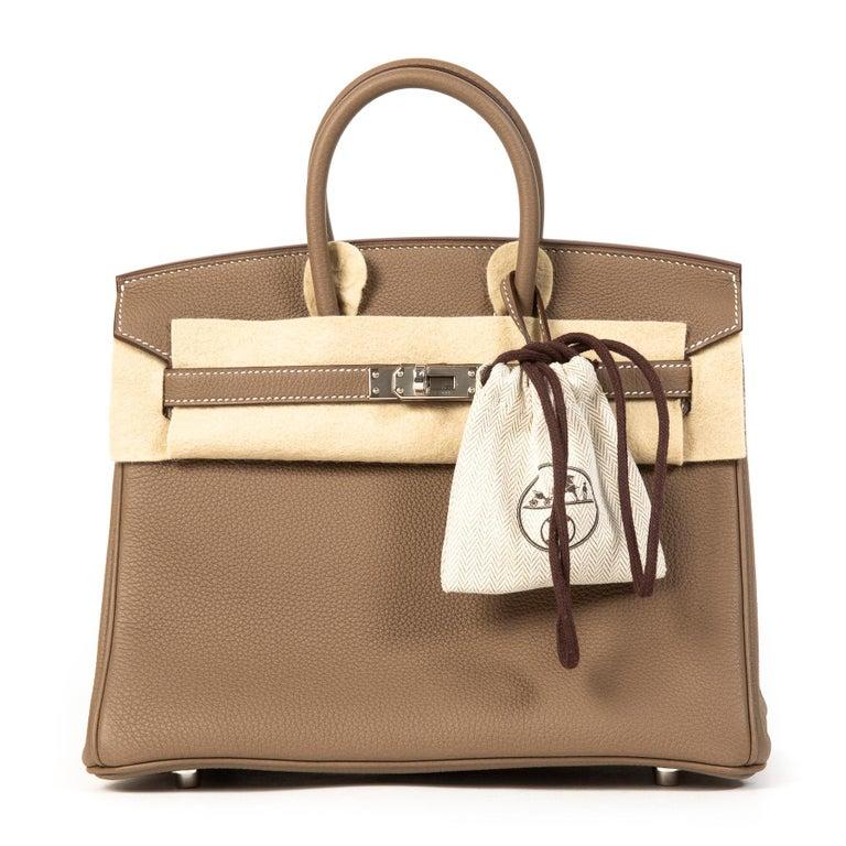 Brown Hermès Birkin 25 Togo Etoupe PHW