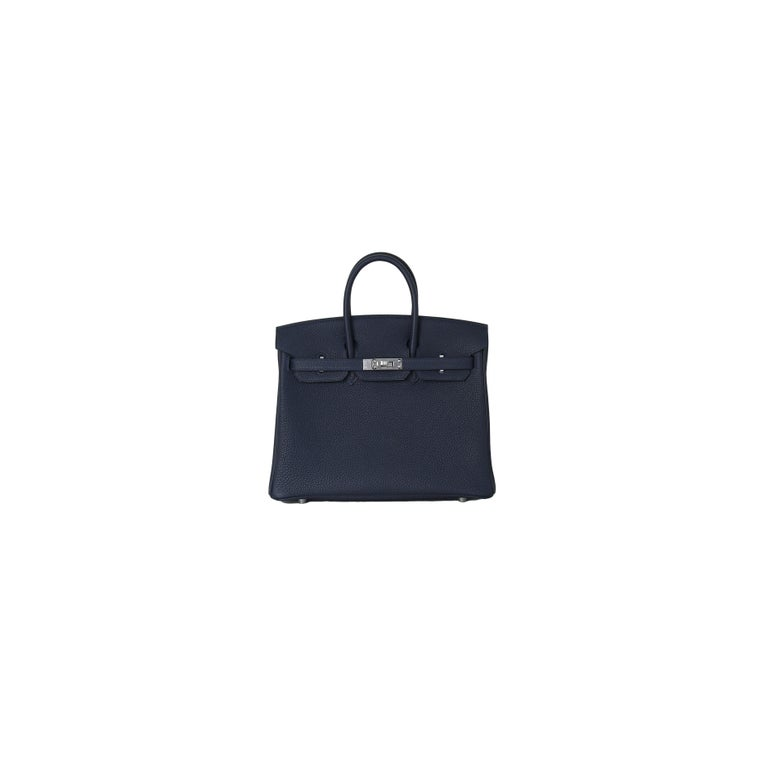 Hermes Birkin 25 Togo Palladium Hardware Bleu Nuit In New Condition For Sale In Flushing, NY